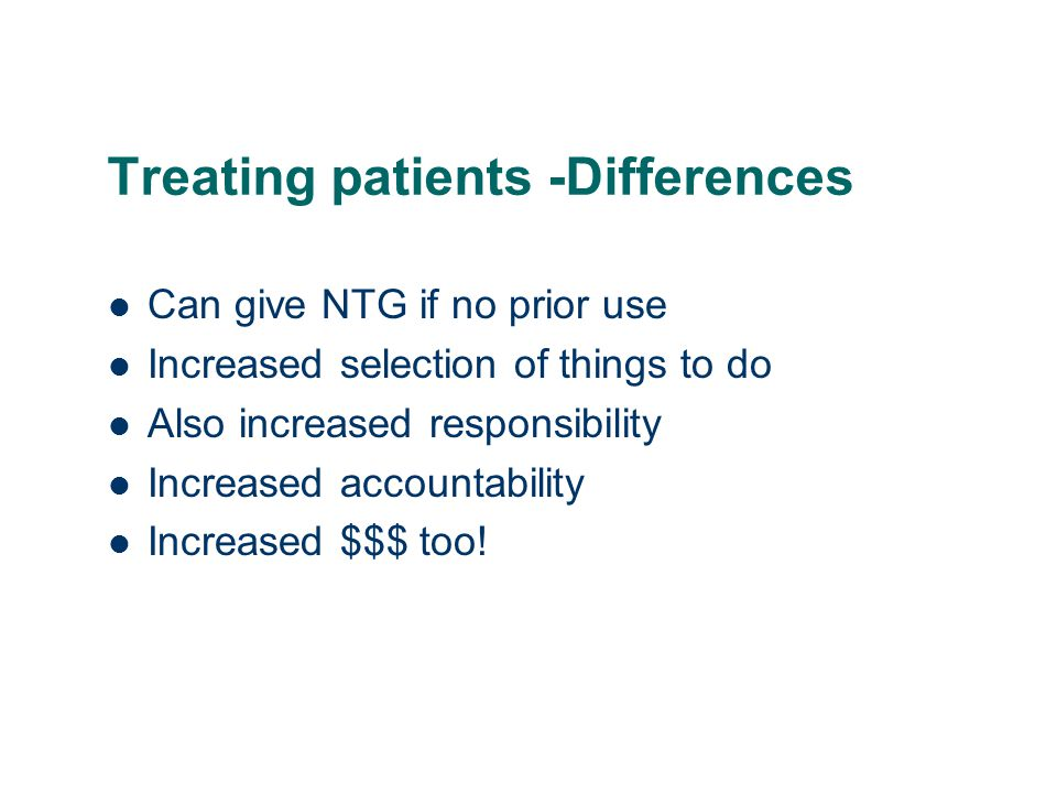 Treating patients -Differences