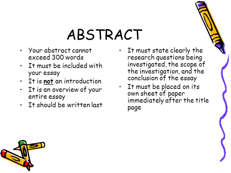 essay on abstract word Writing an abstract understanding and developing abstracts what is an abstract an abstract is a concise summary of a research paper or entire thesis it is an original work 250 words in length, which is indented and single spaced the function http://wwwececmuedu/~koopman/essays/abstractht ml accessed 12.