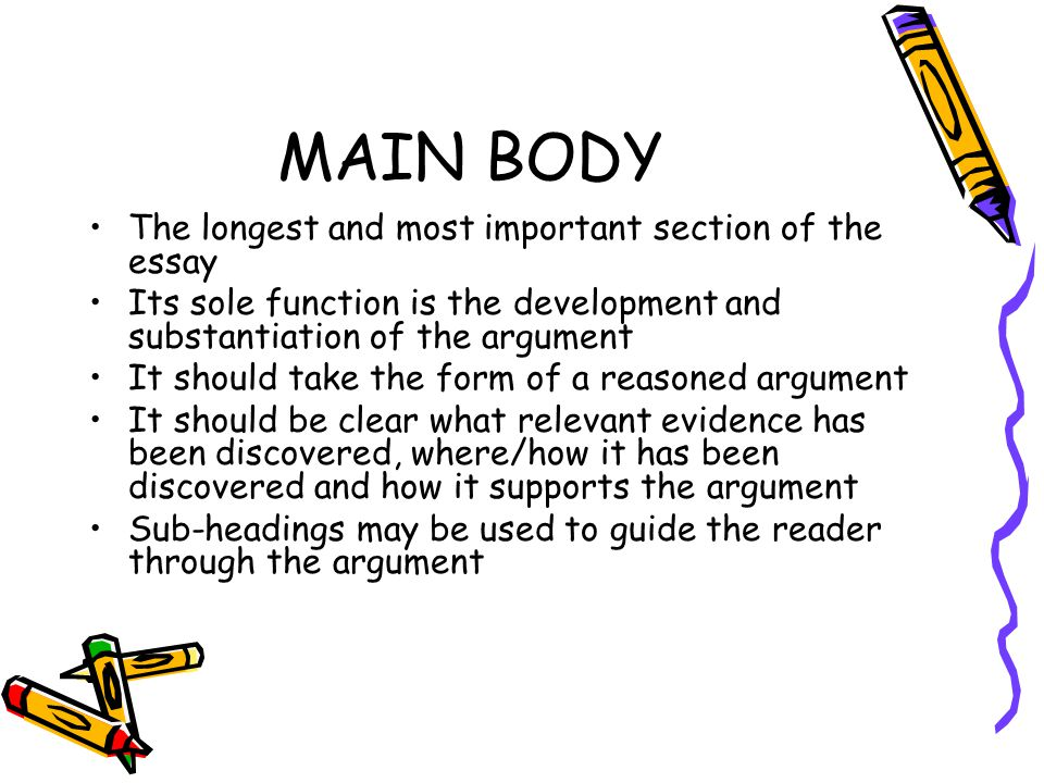 MAIN BODY The longest and most important section of the essay