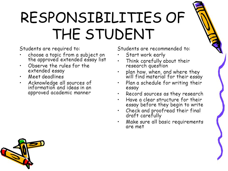 responsibilities as a student essay Several specific characteristics of teacher responsibilities and teacher behaviors that contribute directly to effective teaching are listed for each of the shows evidence of established student routines for responsibilities and student leadership various papers (grid, dot, patty.
