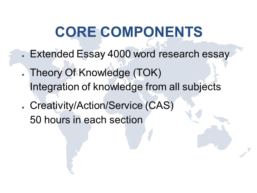 CORE COMPONENTS Extended Essay 4000 word research essay