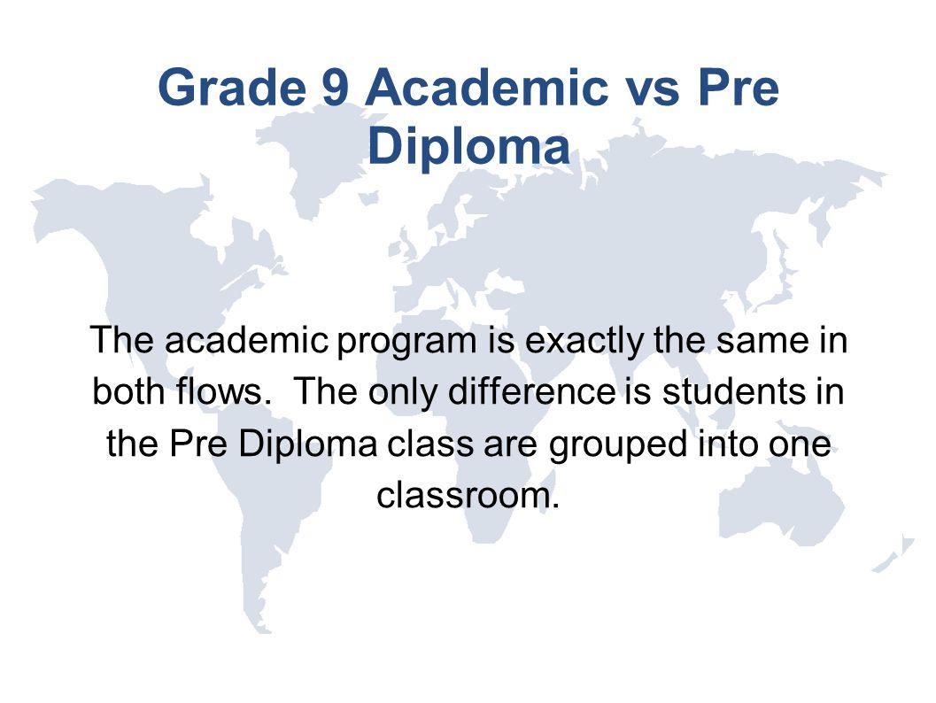 Grade 9 Academic vs Pre Diploma