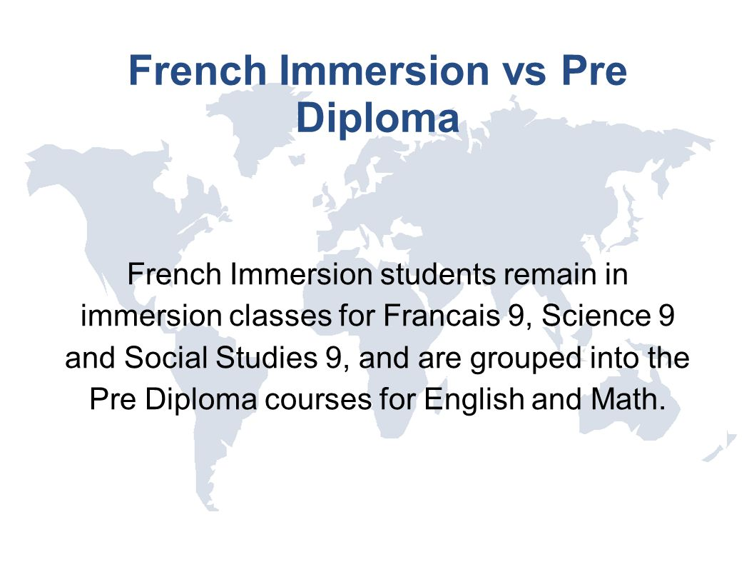 French Immersion vs Pre Diploma