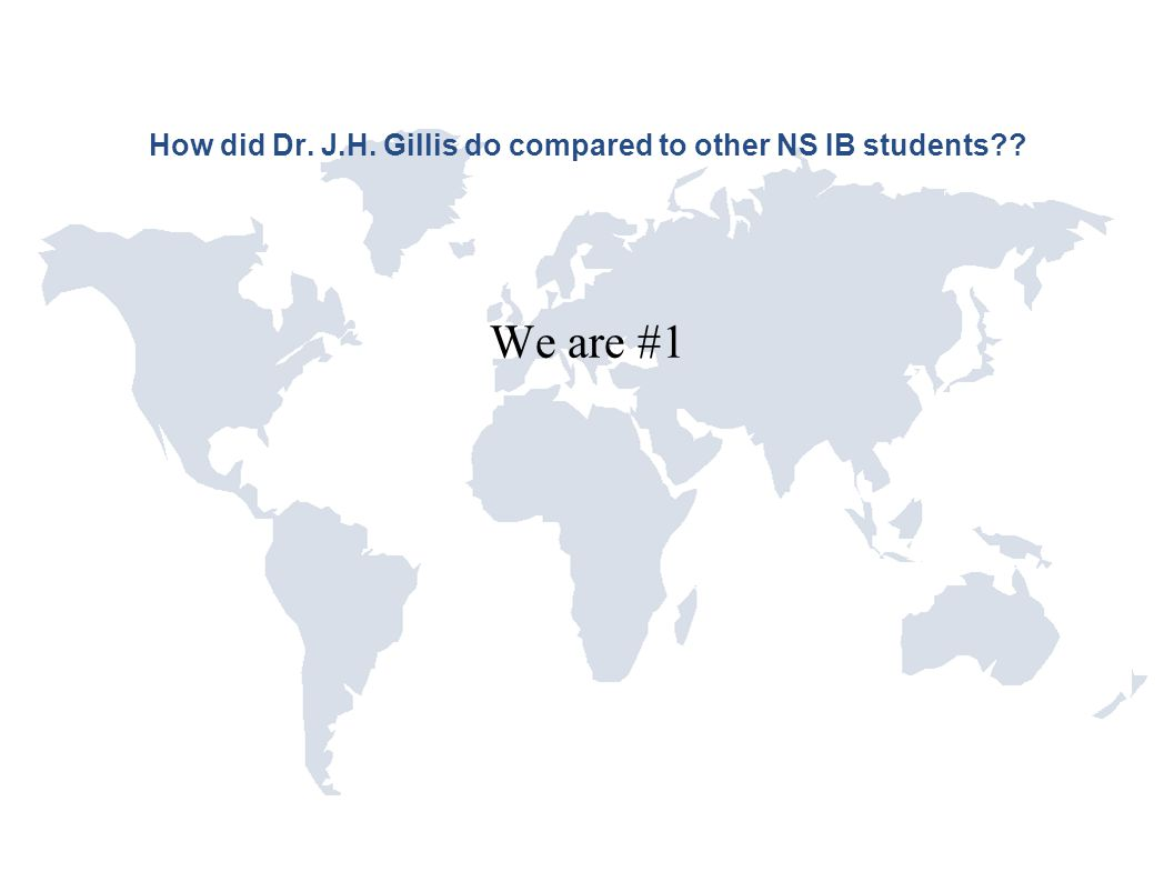 How did Dr. J.H. Gillis do compared to other NS IB students