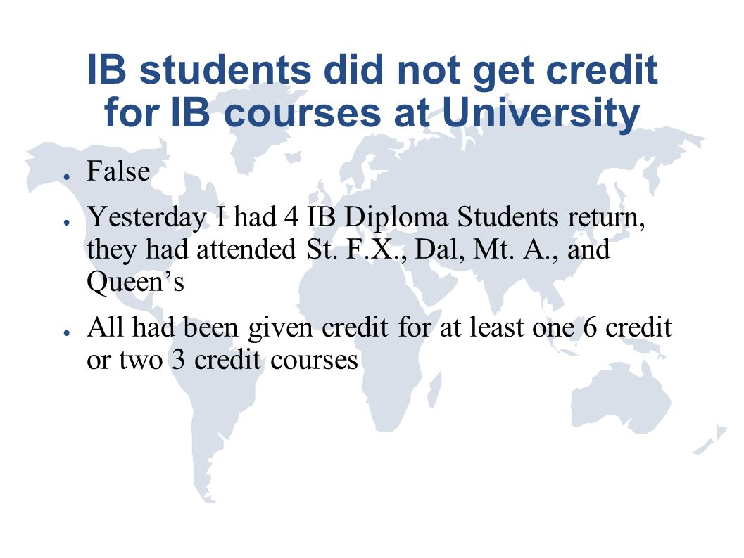 IB students did not get credit for IB courses at University