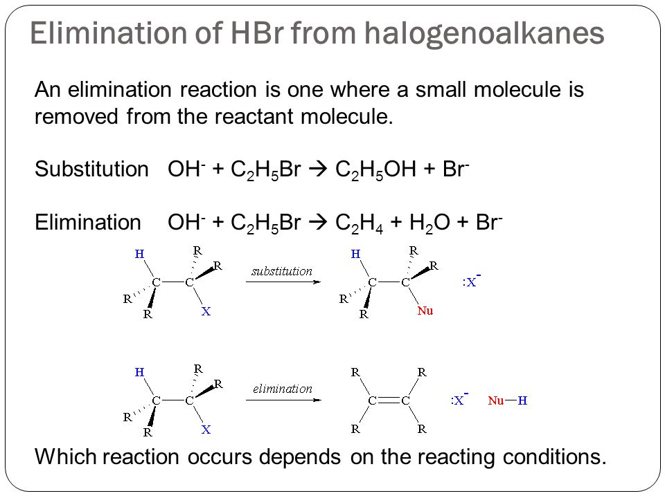 Elimination of HBr from halogenoalkanes