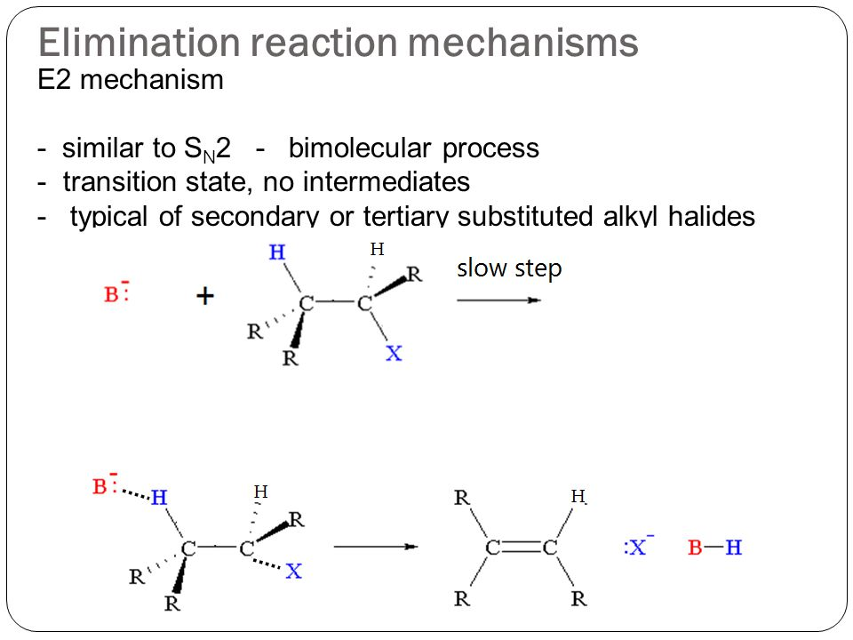 Elimination reaction mechanisms