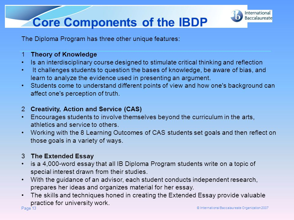 Core Components of the IBDP