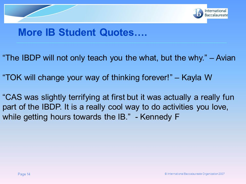More IB Student Quotes….
