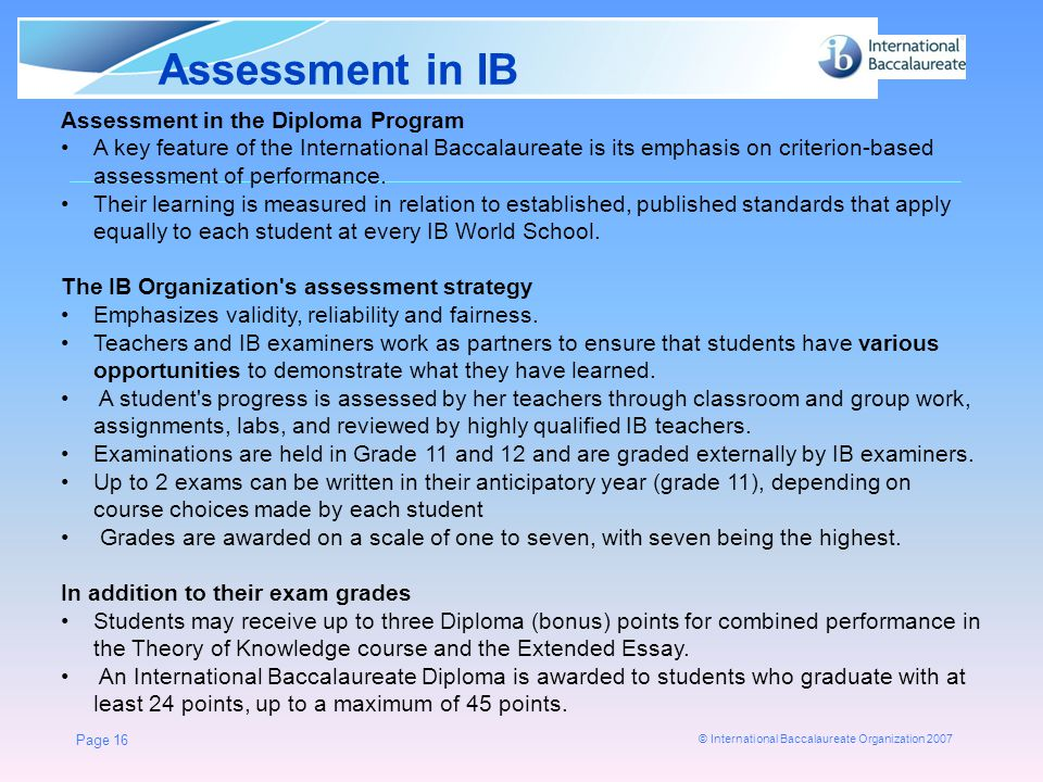 Assessment in IB Assessment in the Diploma Program