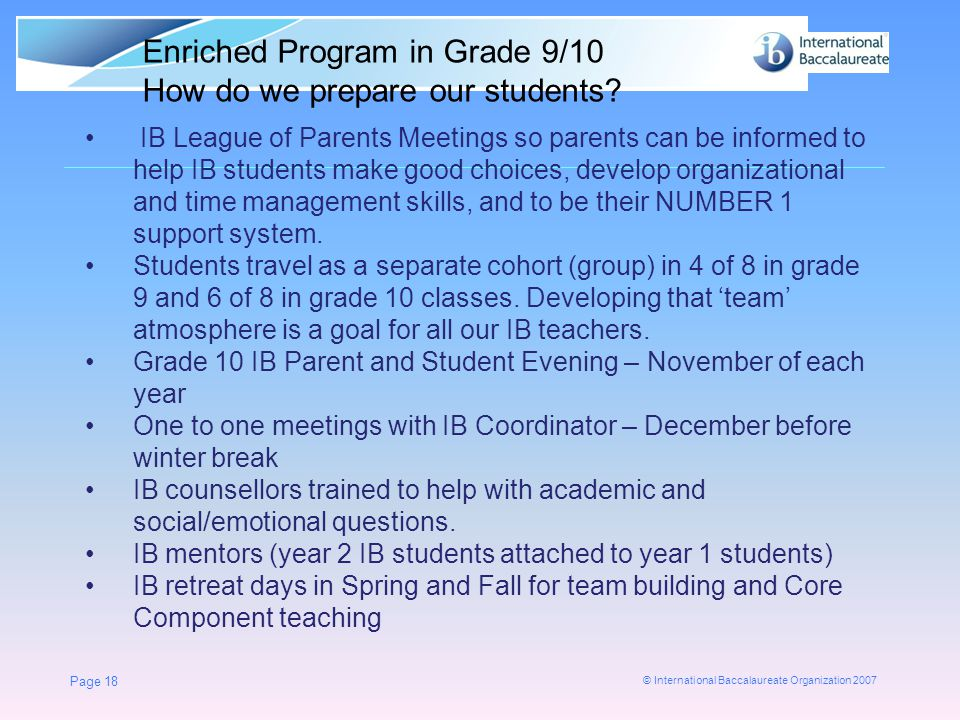Enriched Program in Grade 9/10 How do we prepare our students