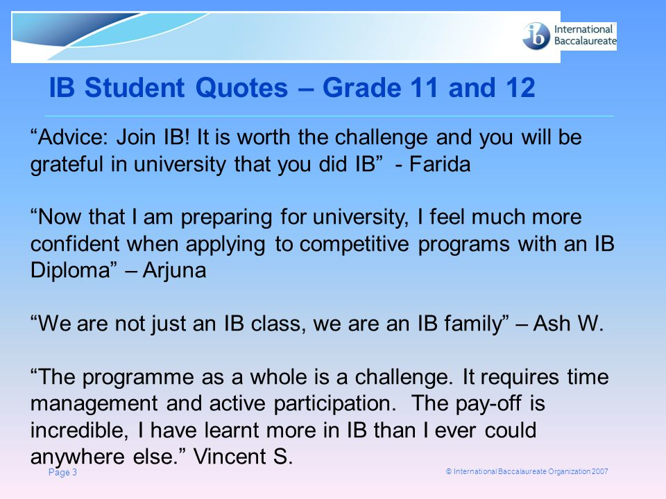 IB Student Quotes – Grade 11 and 12