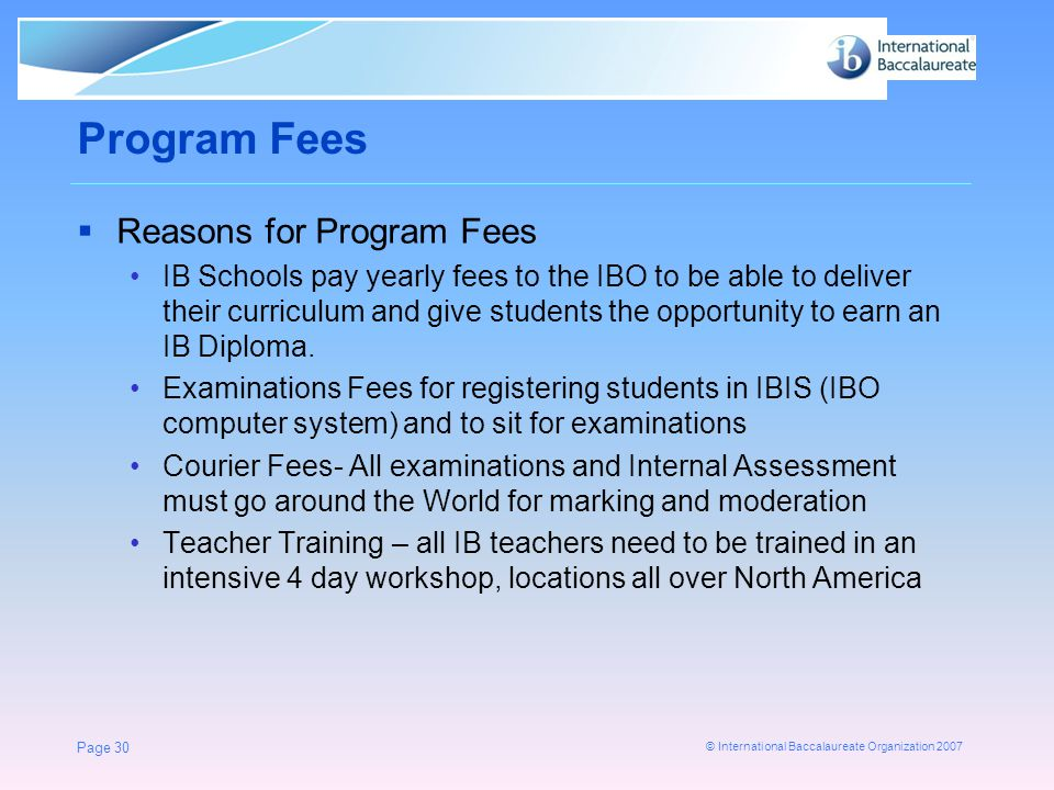 Program Fees Reasons for Program Fees