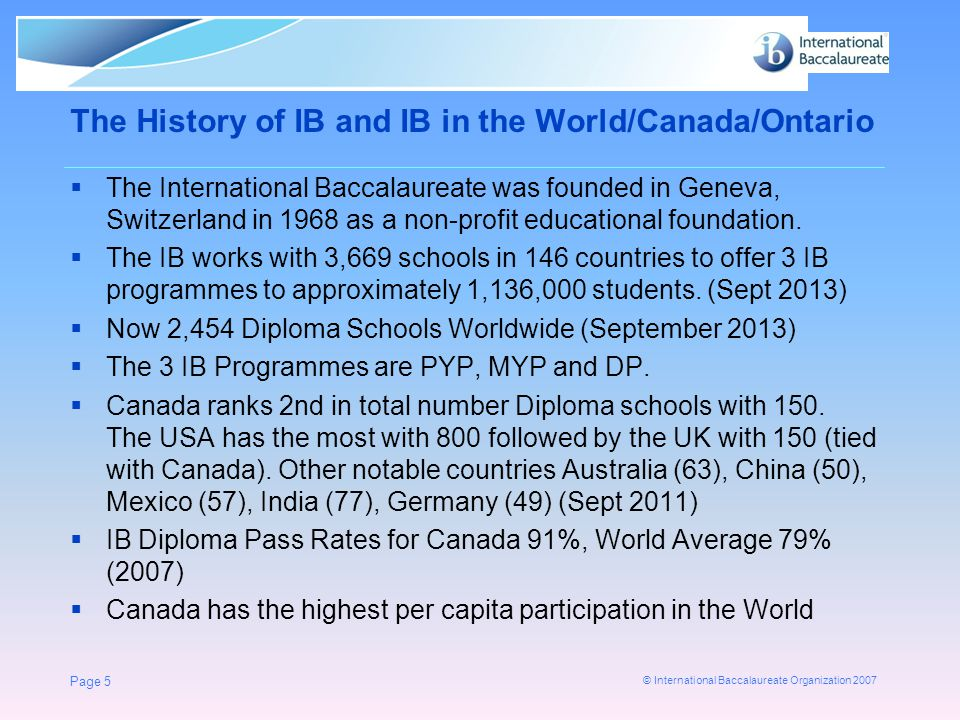 The History of IB and IB in the World/Canada/Ontario