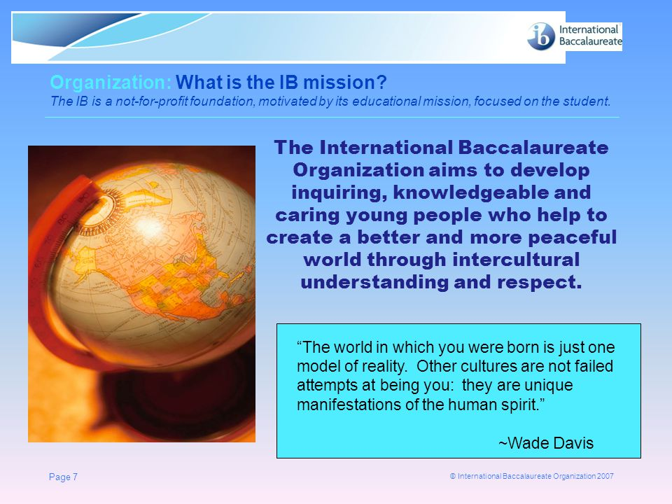 Organization: What is the IB mission