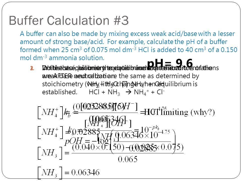 Buffer Calculation #3 pH= 9.6