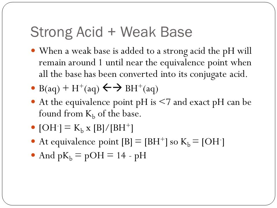 Strong Acid + Weak Base