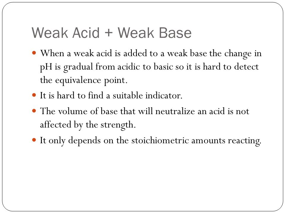 Weak Acid + Weak Base
