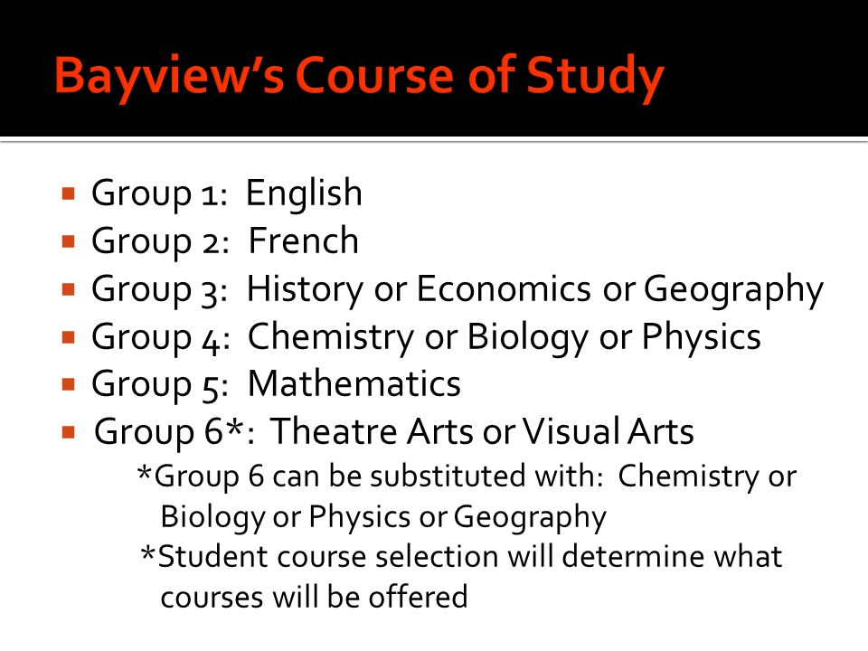 Bayview's Course of Study