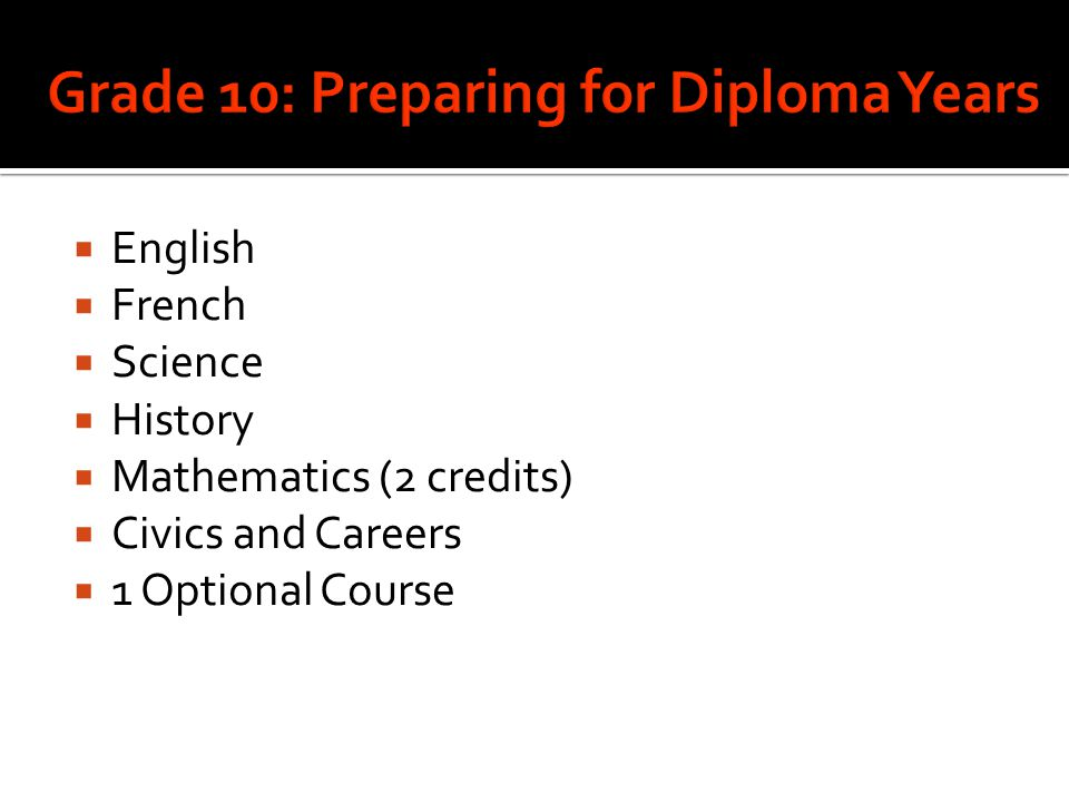 Grade 10: Preparing for Diploma Years