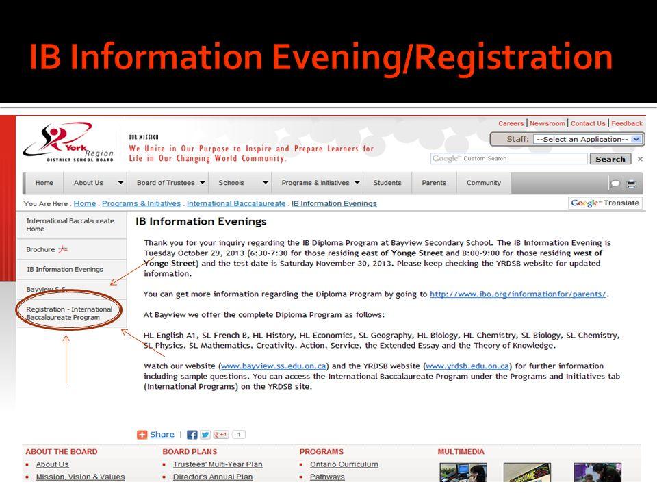 IB Information Evening/Registration