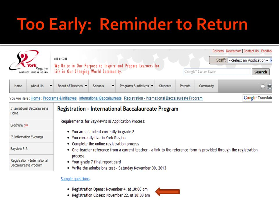 Too Early: Reminder to Return