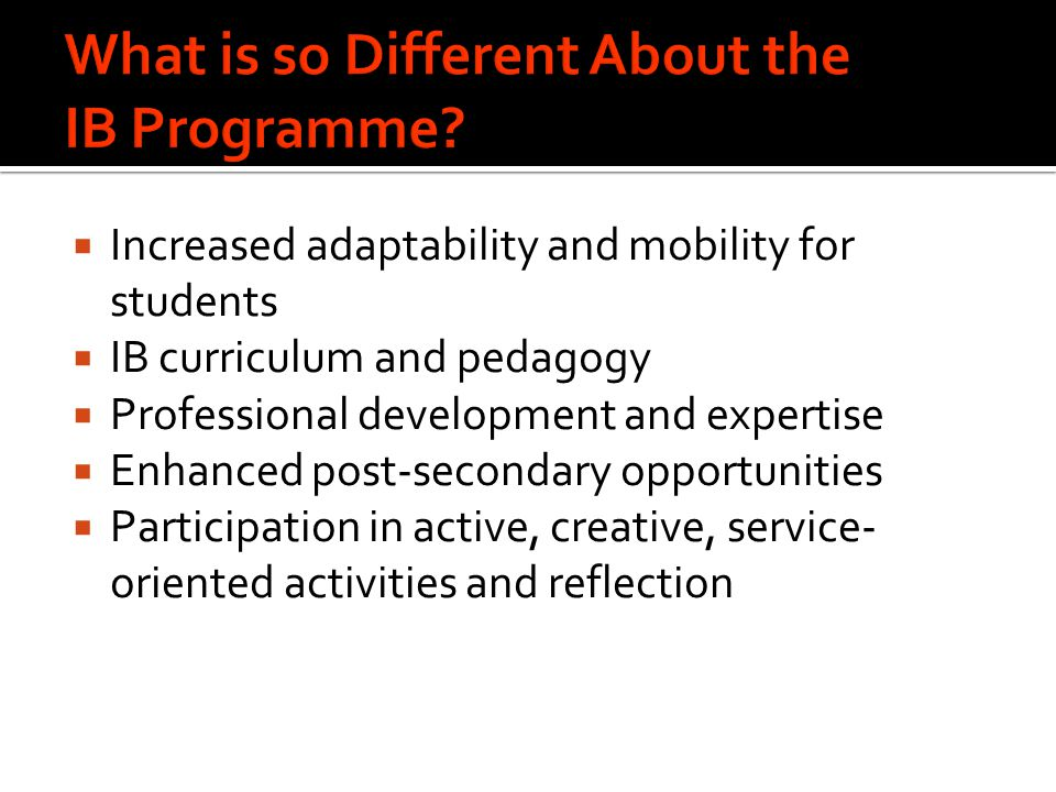 What is so Different About the IB Programme