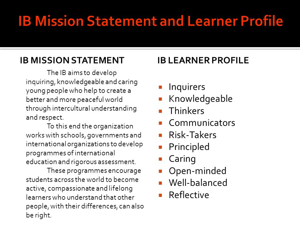 IB Mission Statement and Learner Profile