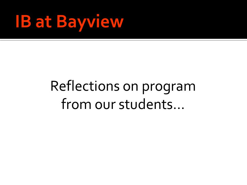 Reflections on program