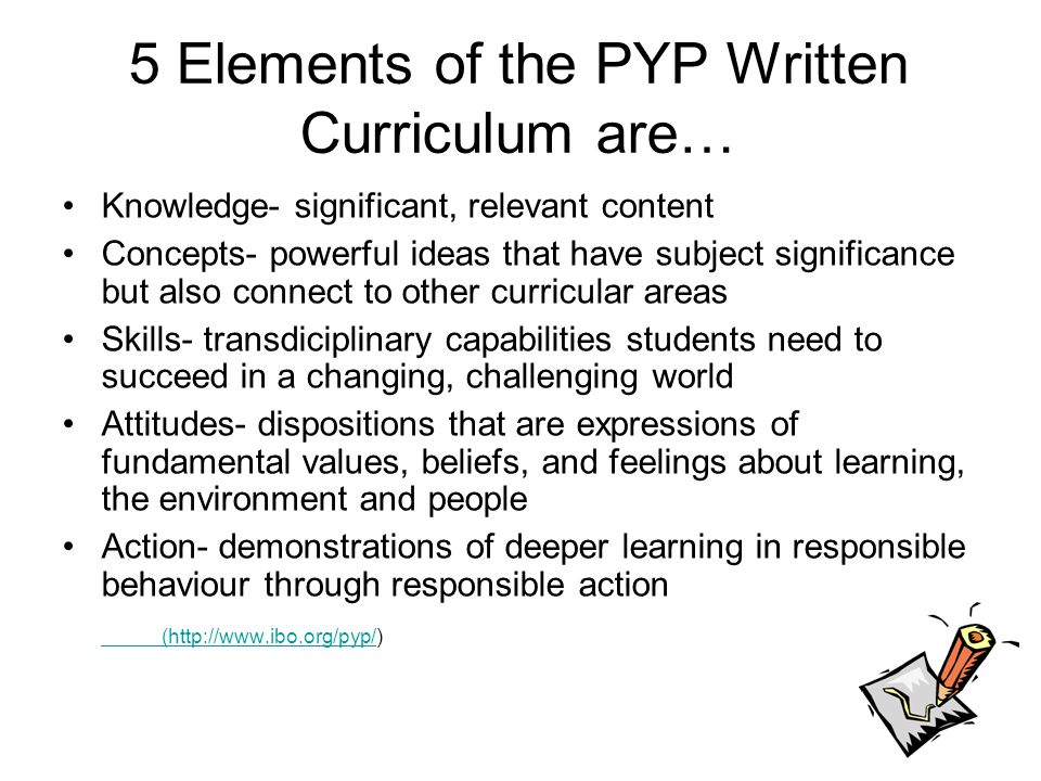 5 Elements of the PYP Written Curriculum are…