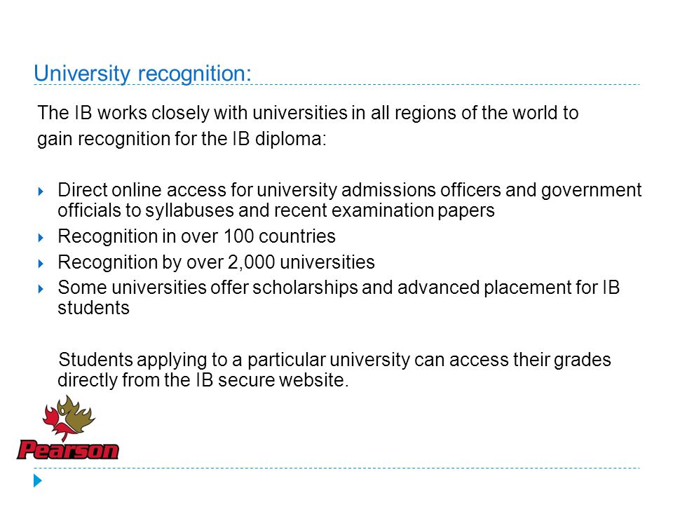 University recognition: