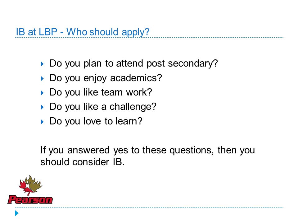 IB at LBP - Who should apply