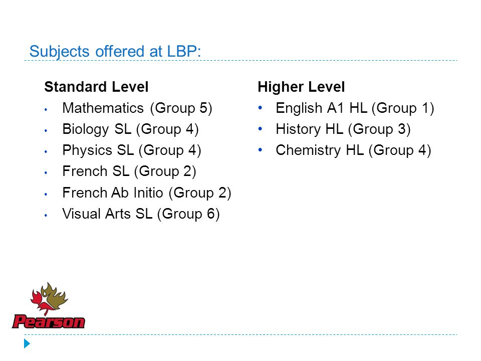 Subjects offered at LBP: