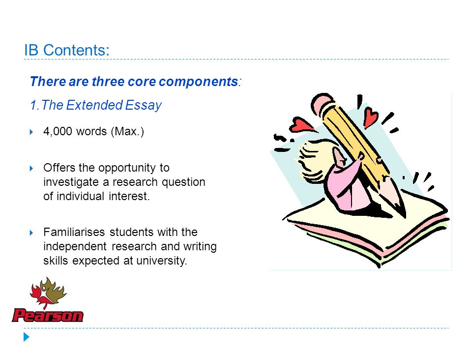 IB Contents: There are three core components: 1.The Extended Essay
