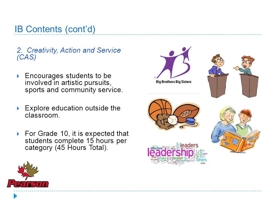 IB Contents (cont'd) 2. Creativity, Action and Service (CAS)
