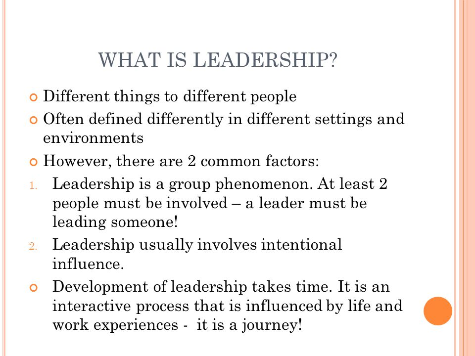 WHAT IS LEADERSHIP Different things to different people