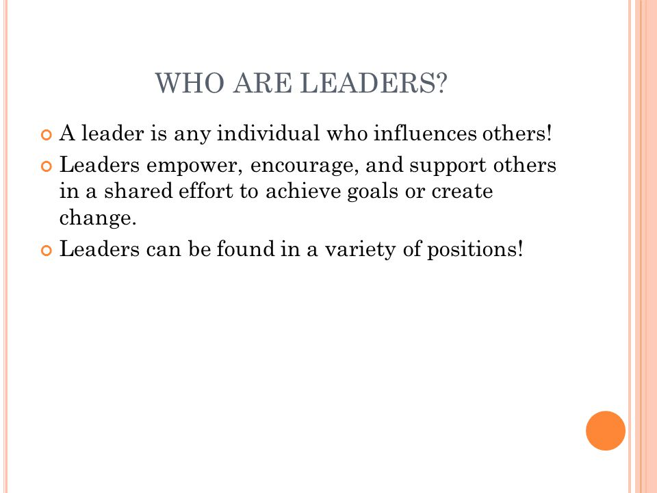 WHO ARE LEADERS A leader is any individual who influences others!
