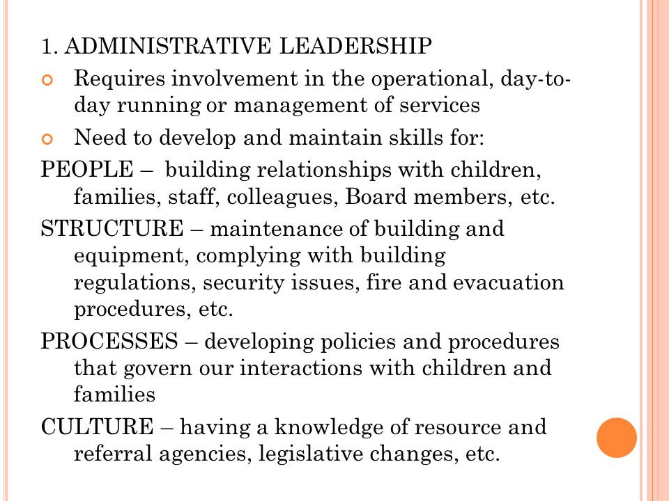 1. ADMINISTRATIVE LEADERSHIP