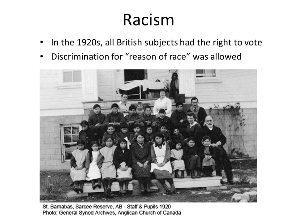 Racism In the 1920s, all British subjects had the right to vote