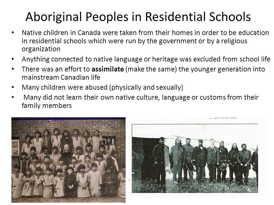 Aboriginal Peoples in Residential Schools