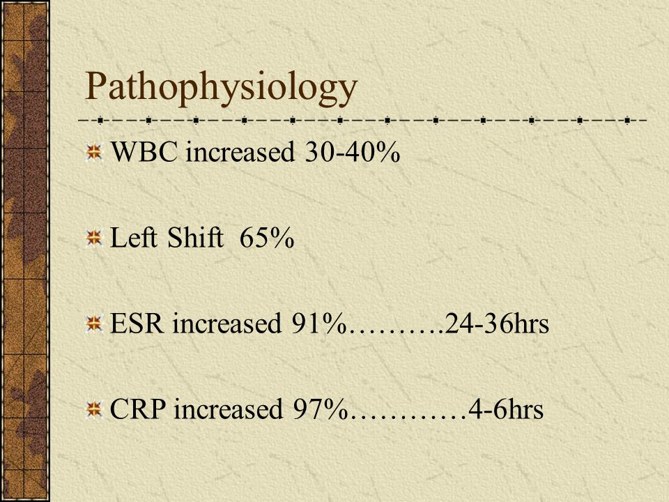 Pathophysiology WBC increased 30-40% Left Shift 65%