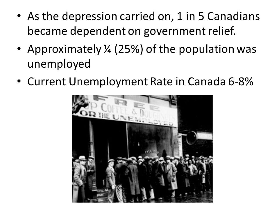 As the depression carried on, 1 in 5 Canadians became dependent on government relief.