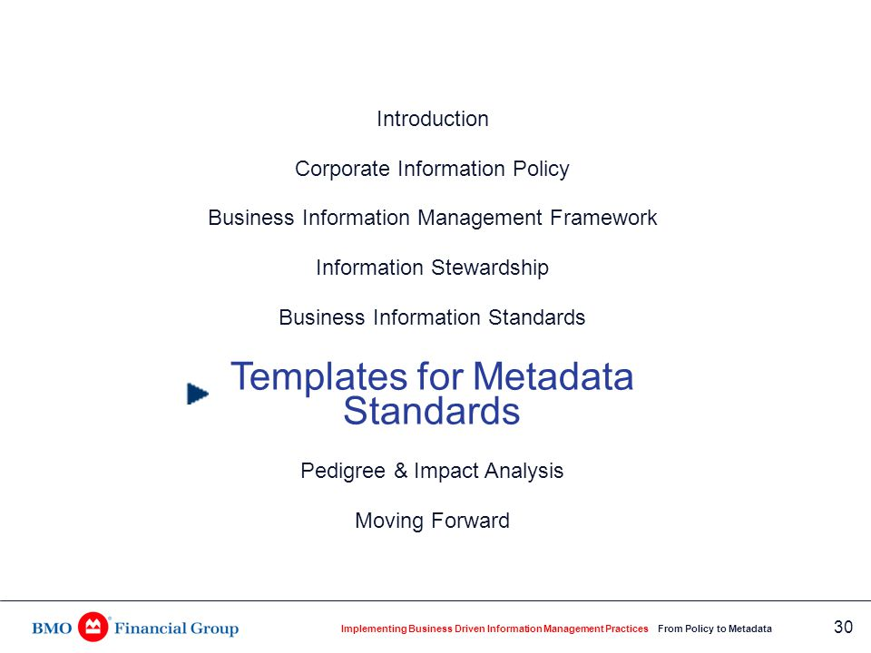 Metadata Templates for Business Standards
