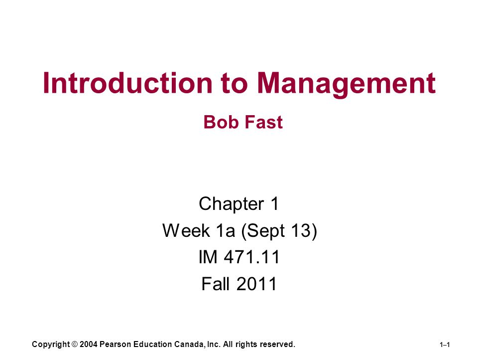 Introduction to Management Bob Fast