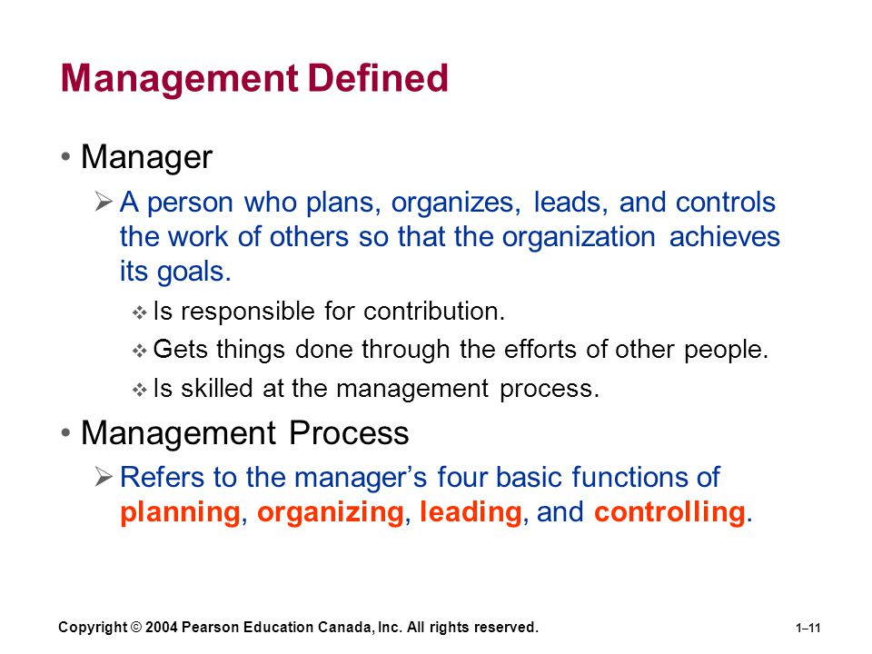 Management Defined Manager Management Process