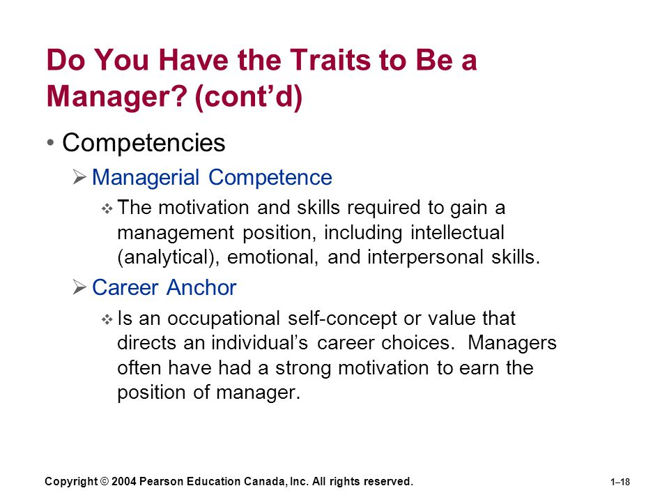 Do You Have the Traits to Be a Manager (cont'd)