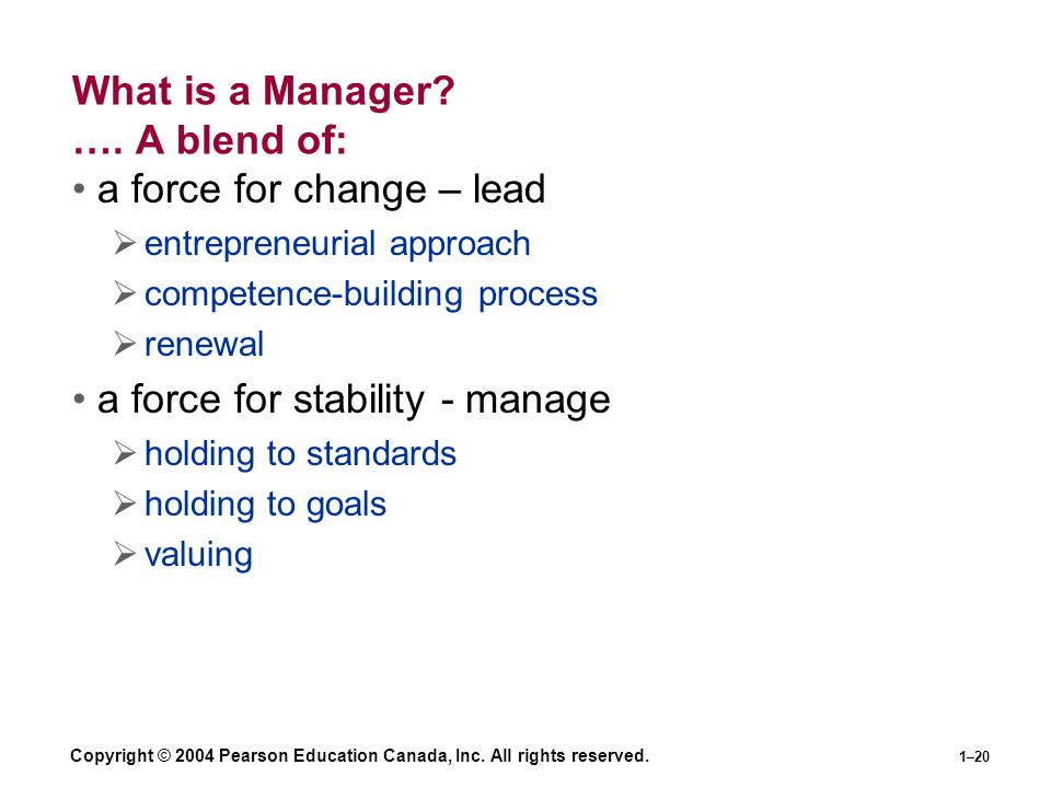 What is a Manager …. A blend of:
