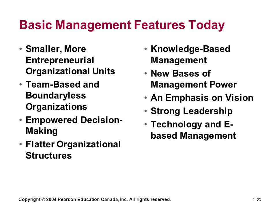 Basic Management Features Today
