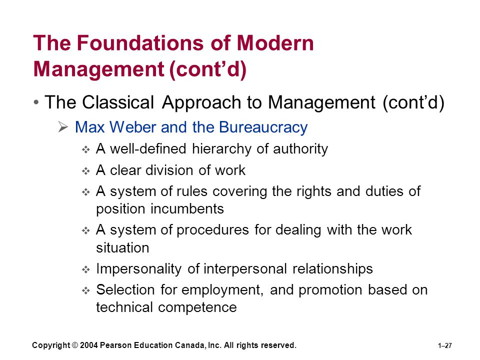 The Foundations of Modern Management (cont'd)