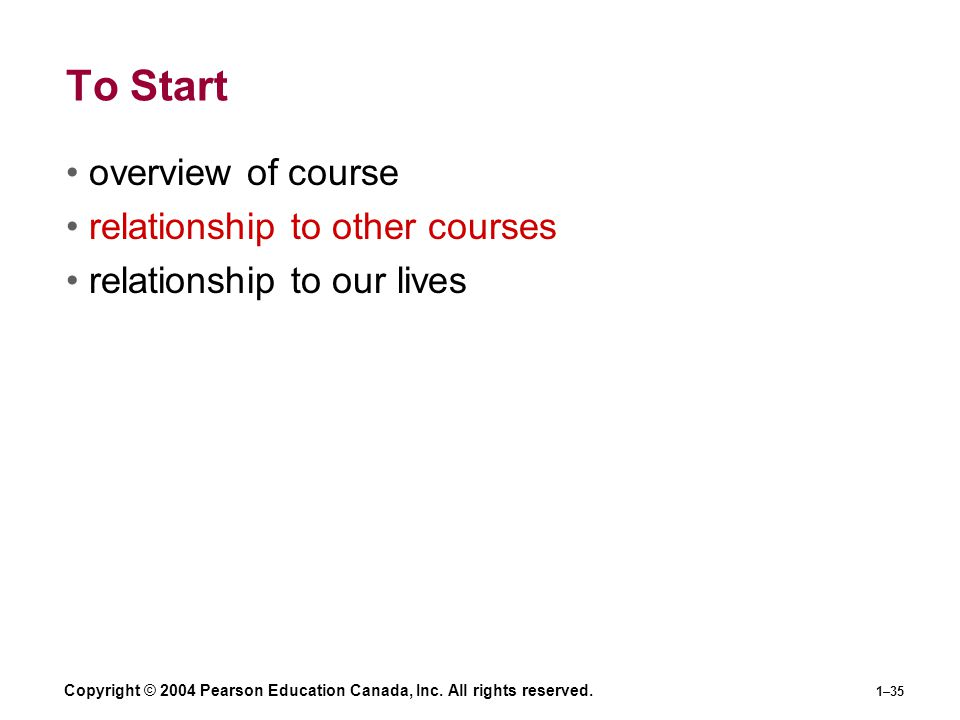 To Start overview of course relationship to other courses